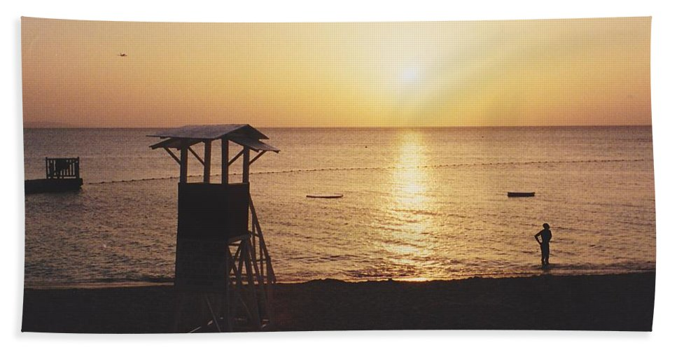 Sunsets Hand Towel featuring the photograph Sunset Life Guard by Michelle Powell