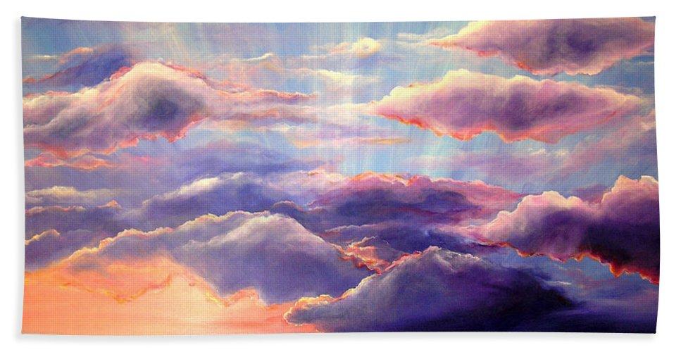 Sunset Bath Sheet featuring the painting Sunset by Melissa Joyfully
