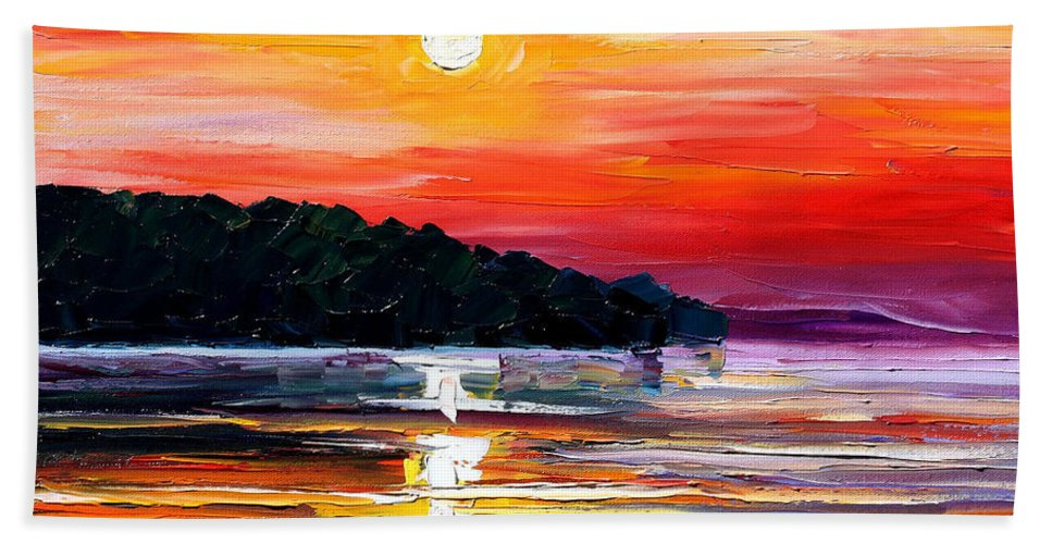 Boat Bath Sheet featuring the painting Sunset Melody by Leonid Afremov