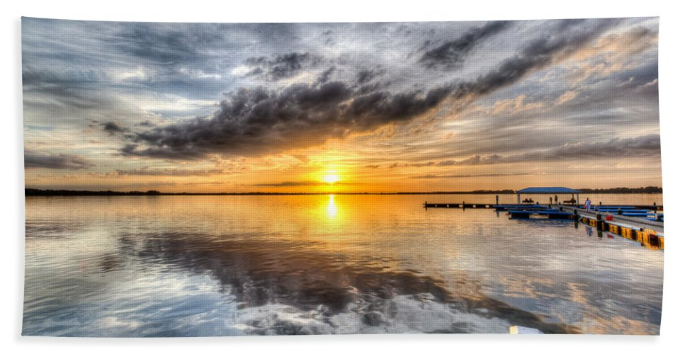 Lake Hand Towel featuring the photograph Sunset Mirroracle by Ronald Kotinsky