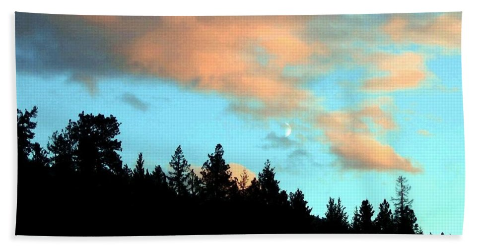 Sunset Bath Sheet featuring the photograph Sunset Moon by Will Borden