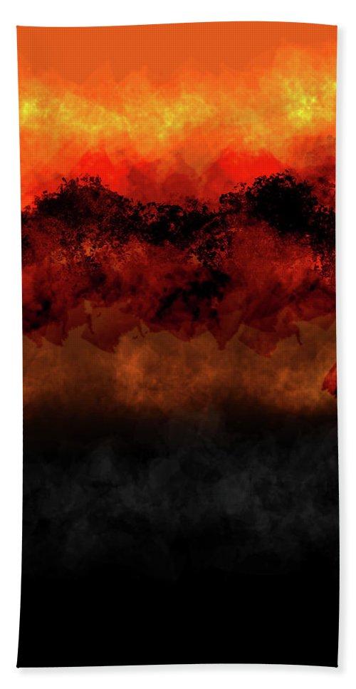 Bath Towel featuring the digital art Sunset Mountains by Vijay Prakash