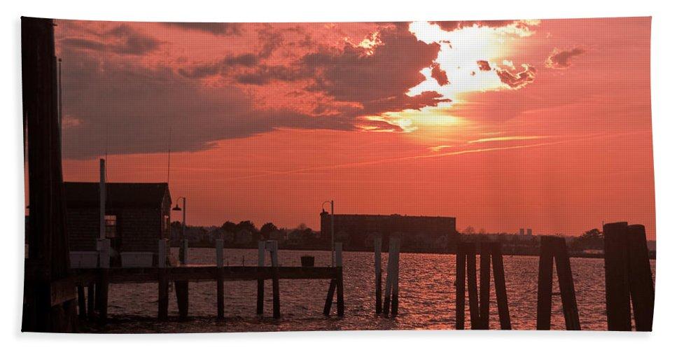 Sunset Bath Sheet featuring the photograph Sunset Newport Rhode Island by Steven Natanson