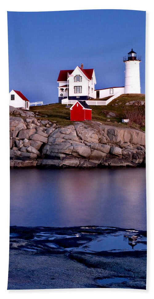 Lighthouse Bath Sheet featuring the photograph Sunset Nubble by Greg Fortier