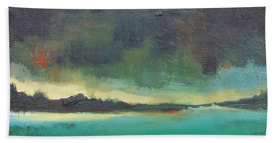 Landscape Bath Sheet featuring the painting Sunset On Blue Danube by Vesna Antic
