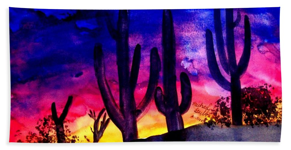 Colorful Hand Towel featuring the painting Sunset On Cactus by Michael Grubb
