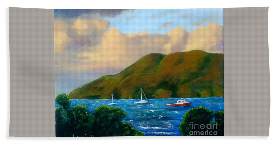 Sunset Bath Sheet featuring the painting Sunset On Cruz Bay by Laurie Morgan