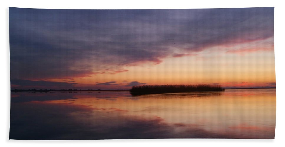 Landscape Bath Sheet featuring the photograph Sunset On Isac Lake by Constantin Musat
