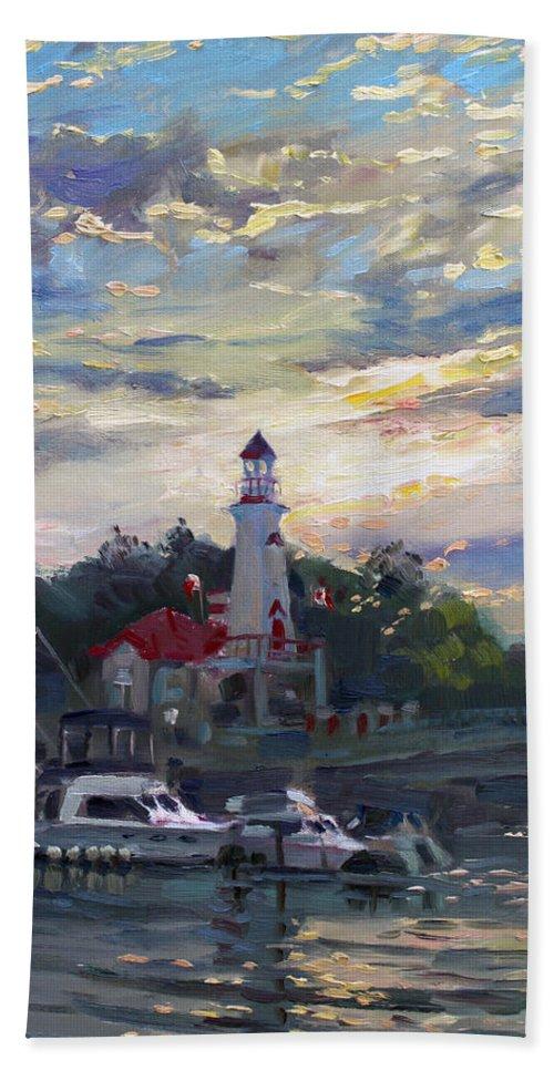 Sunset On Lake Shore Mississauga Hand Towel featuring the painting Sunset On Lake Shore Mississauga by Ylli Haruni