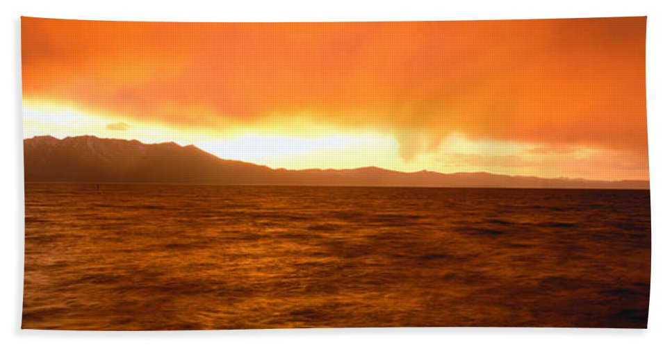 Photography Bath Sheet featuring the photograph Sunset On Lake Tahoe, California by Panoramic Images