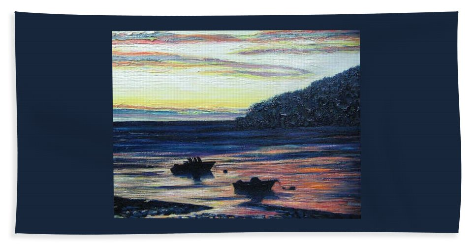 Maine Bath Towel featuring the painting Sunset On Maine Coast by Richard Nowak