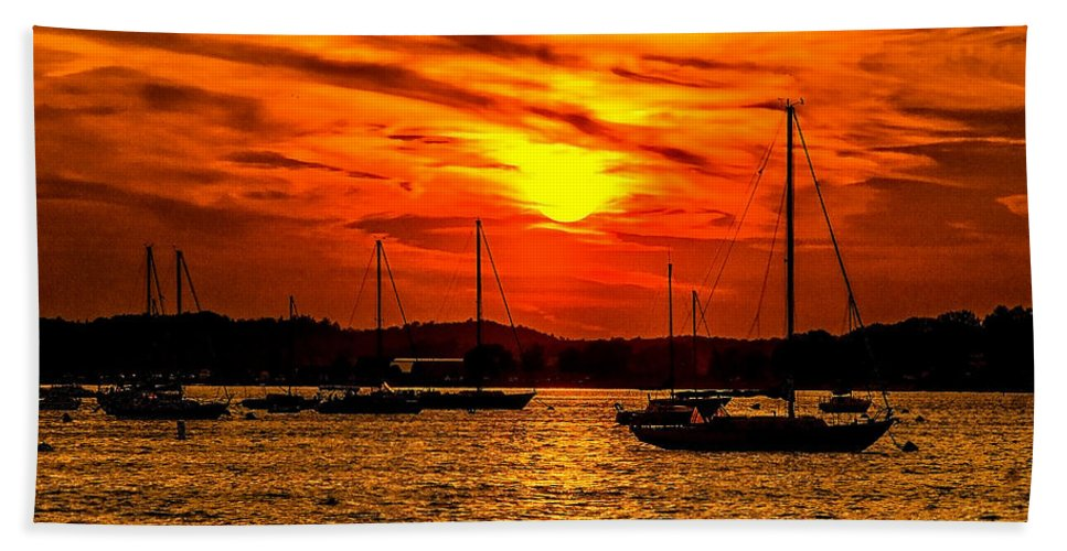 Sunset Hand Towel featuring the photograph Sunset On Muskegon Lake by Nick Zelinsky