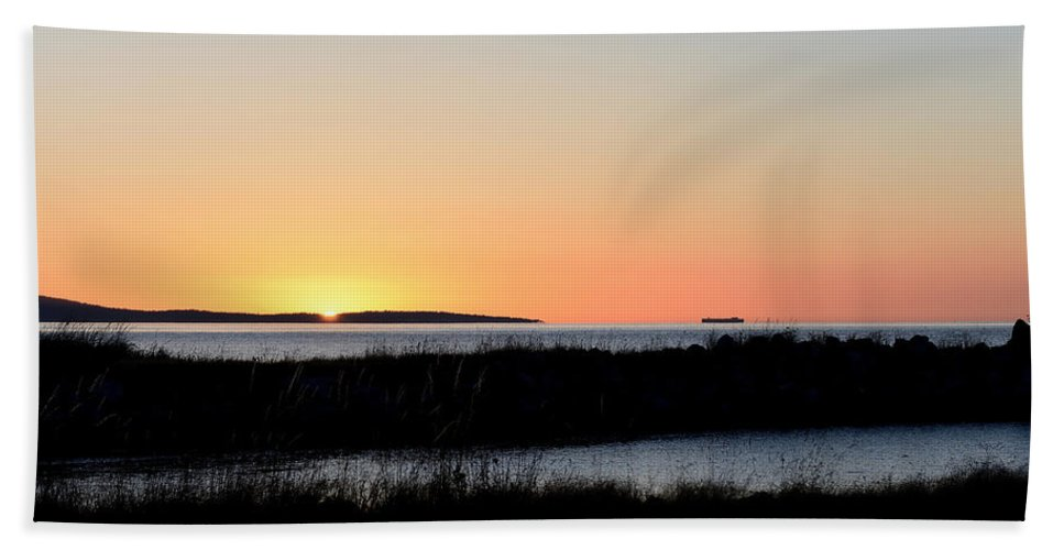 Sunset Orcas Island Bath Sheet featuring the photograph Sunset On Orcas Island by Debra Sabeck