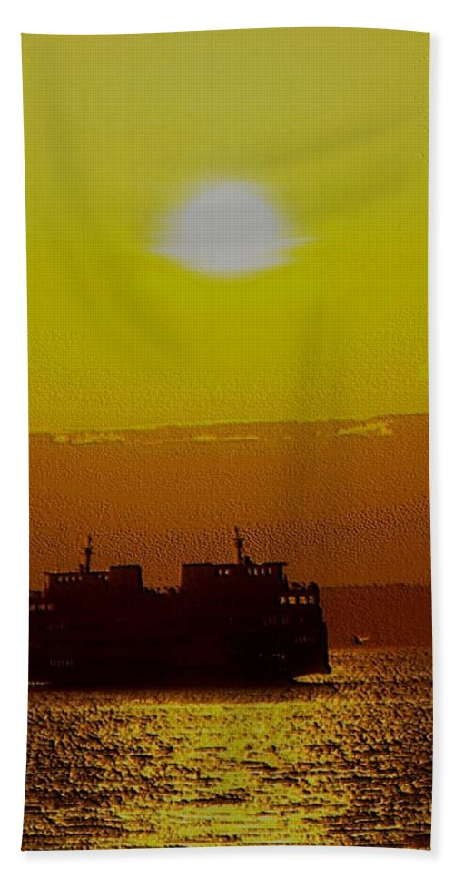 Seattle Bath Towel featuring the photograph Sunset On Puget Sound by Tim Allen