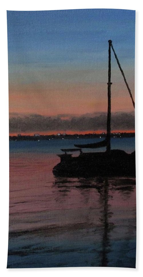 Seascape/landscape Bath Sheet featuring the painting Sunset On St. Andrew Bay by Raymond Davis