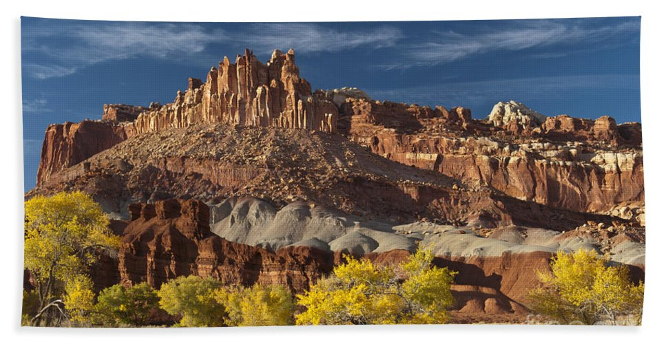 Capitol Reef Hand Towel featuring the photograph Sunset On The Castle by Sandra Bronstein