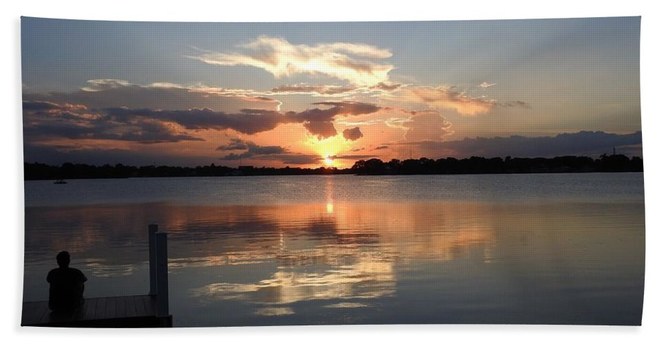 Sunset Hand Towel featuring the photograph Sunset On The Dock by Nina Travieso