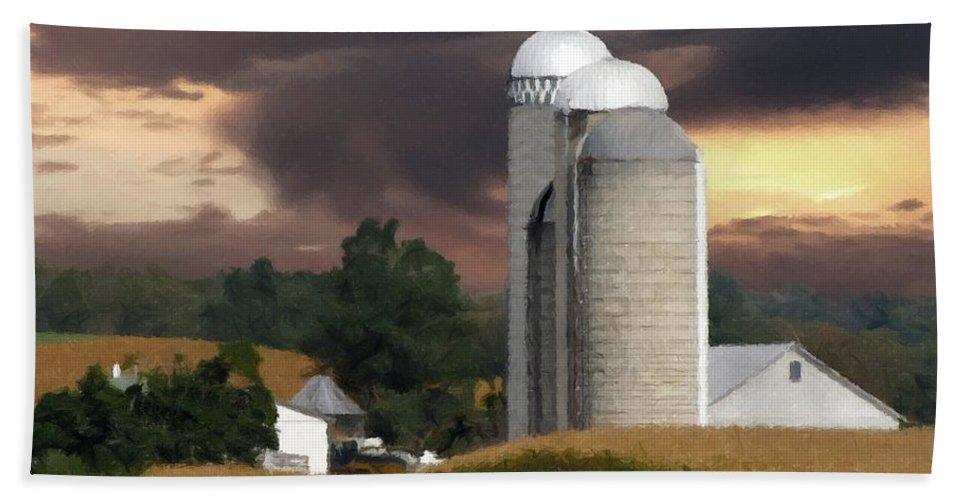 Farm Bath Towel featuring the photograph Sunset On The Farm by David Dehner