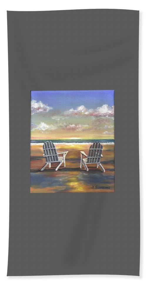 Sunset Bath Sheet featuring the painting Sunset On The Gulf Coast by Joseph Schilling