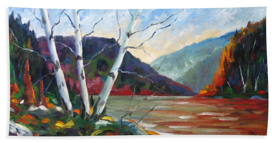 Landscape; Landscapes/scenic; Birches;sun;lake;pranke Hand Towel featuring the painting Sunset On The Lake by Richard T Pranke