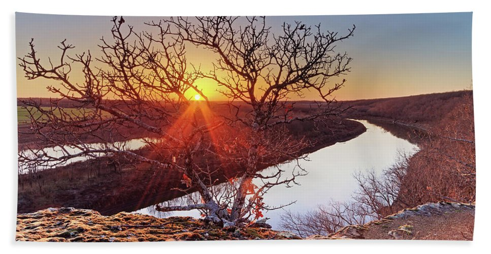 Missouri Bath Sheet featuring the photograph Sunset On The Osage River by Tommy Brison