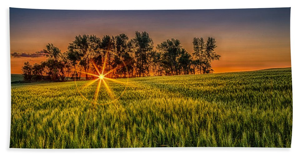 Natural Forms Hand Towel featuring the photograph Sunset On The Prairie by Rikk Flohr