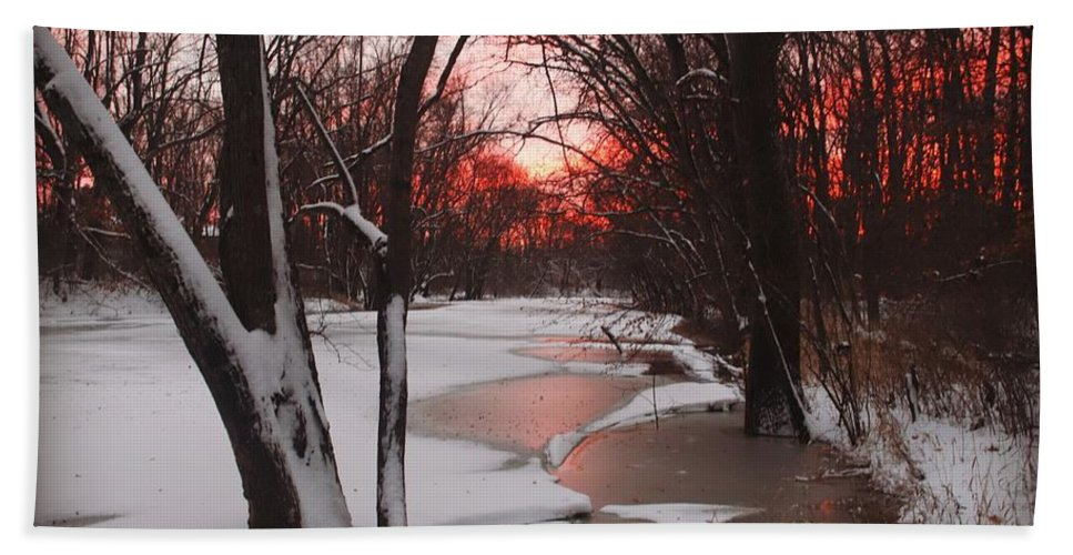Sunset Hand Towel featuring the photograph Sunset On The Red Cedar by Devon Kotke