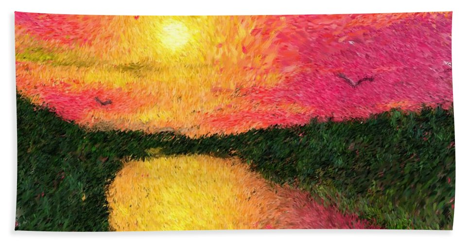 Digital Art Hand Towel featuring the digital art Sunset On The River by David Lane