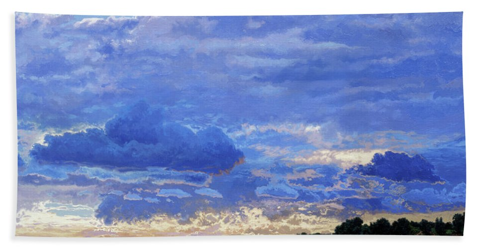 Landscapes Bath Towel featuring the painting Sunset On The Volga. Gorodets by Simon Kozhin