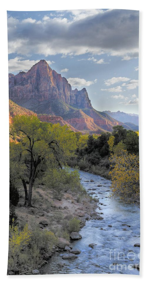 Hdr Hand Towel featuring the photograph Sunset On The Watchman by Sandra Bronstein