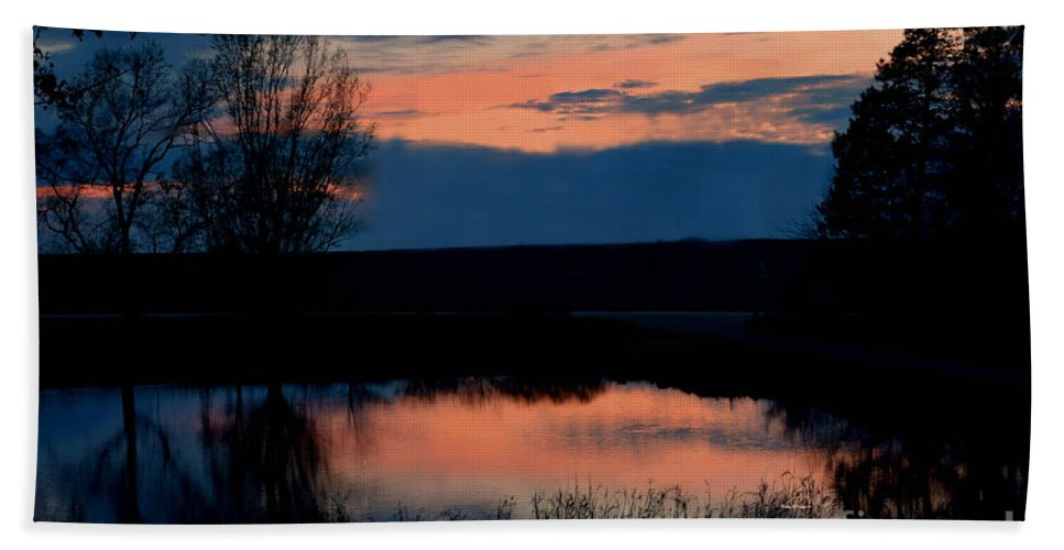 Sunset On Willow Pond Hand Towel featuring the photograph Sunset On Willow Pond by Kathy M Krause
