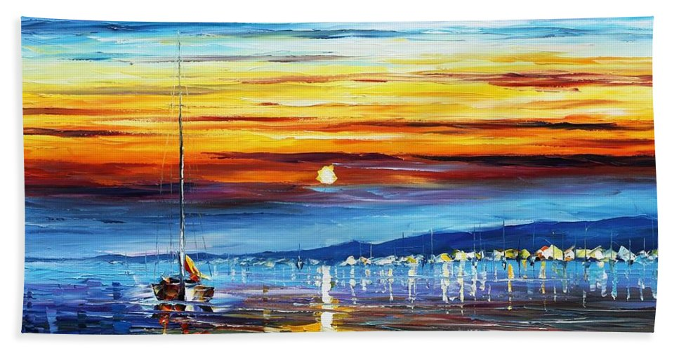 Afremov Hand Towel featuring the painting Sunset Over California by Leonid Afremov
