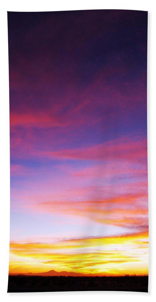 Sunset Hand Towel featuring the photograph Sunset Over Desert by Jill Reger