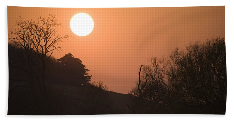 Red Bath Sheet featuring the photograph Sunset Over Hampshire Cornfield by Ian Middleton