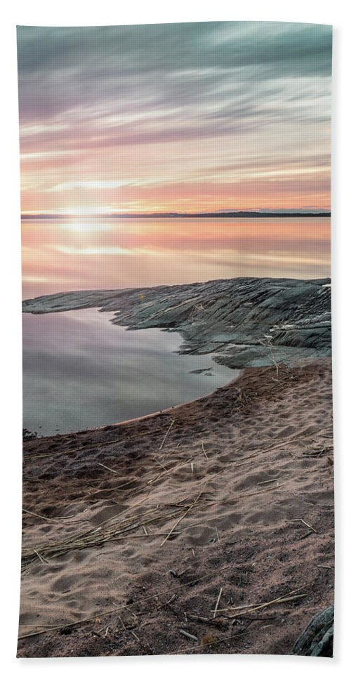 Background Hand Towel featuring the photograph Sunset Over Lake Vanern, Sweden by Marcus Lindberg