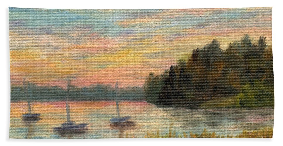 Sunset Bath Towel featuring the painting Sunset Over Massabessic by Sharon E Allen