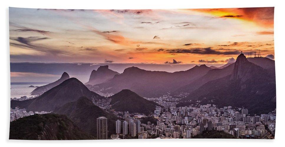 Brazil Hand Towel featuring the photograph Sunset Over Rio De Janeiro by Desiree Silva