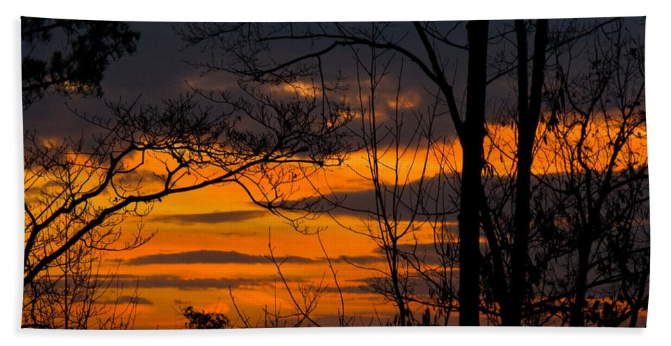 Sunset Hand Towel featuring the photograph sunset over Suwanee 2010 by David Campbell