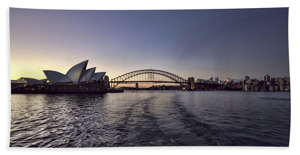 Sunset Bath Sheet featuring the photograph Sunset Over Sydney Harbor Bridge And Sydney Opera House by Douglas Barnard
