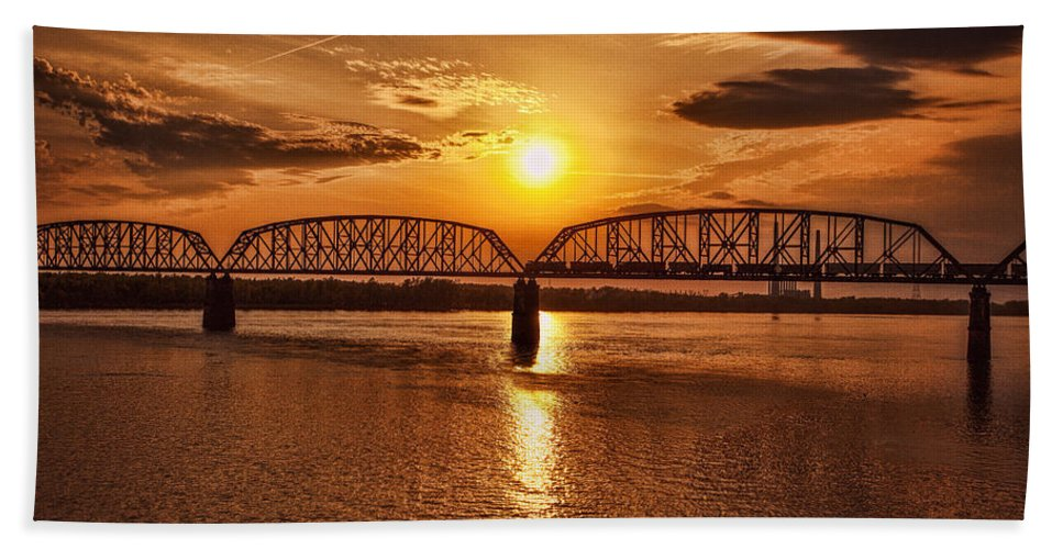George Rogers Clark Memorial Bridge Hand Towel featuring the photograph Sunset Over The Bridge by Diana Powell