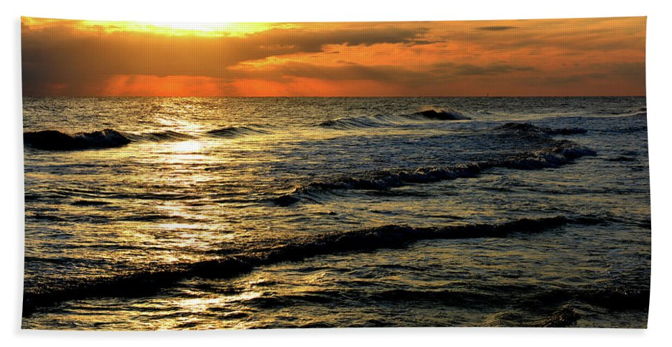 Seascape Hand Towel featuring the digital art Sunset Over The Gulf by Janet Duffey