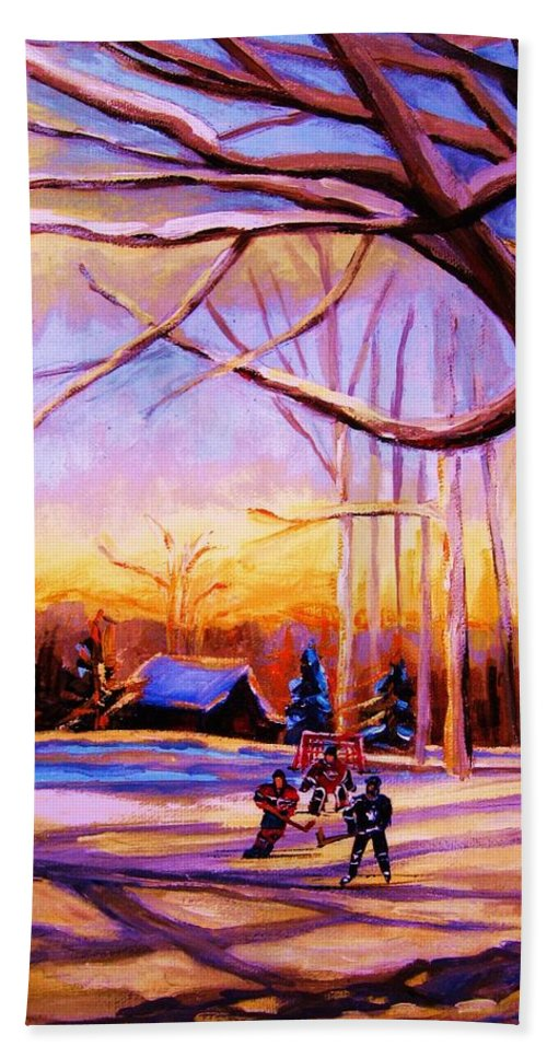 Sunset Over Hockey Hand Towel featuring the painting Sunset Over The Hockey Game by Carole Spandau