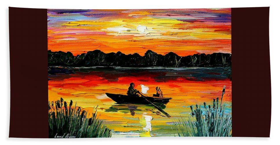Boat Bath Sheet featuring the painting Sunset Over The Lake by Leonid Afremov