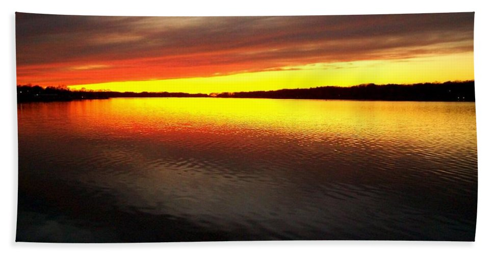 Gold Bath Towel featuring the photograph Sunset Over The Lake by Michelle Calkins