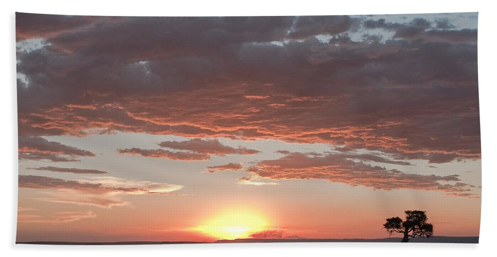 Africa Bath Sheet featuring the photograph Sunset Over The Mara by Colette Panaioti