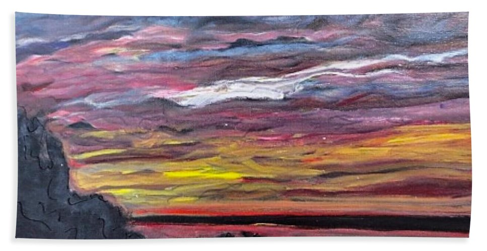 Mississippi River Hand Towel featuring the painting Sunset Over The Mississippi by Paula Baker