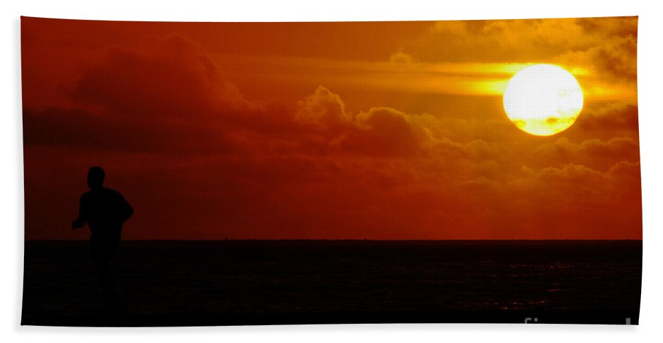 Clay Hand Towel featuring the photograph Sunset Over The Pacific by Clayton Bruster