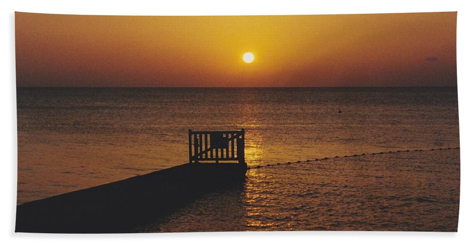 Sunsets Hand Towel featuring the photograph Sunset Pier by Michelle Powell