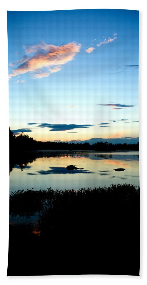 Water Hand Towel featuring the photograph Sunset Pond by Greg Fortier