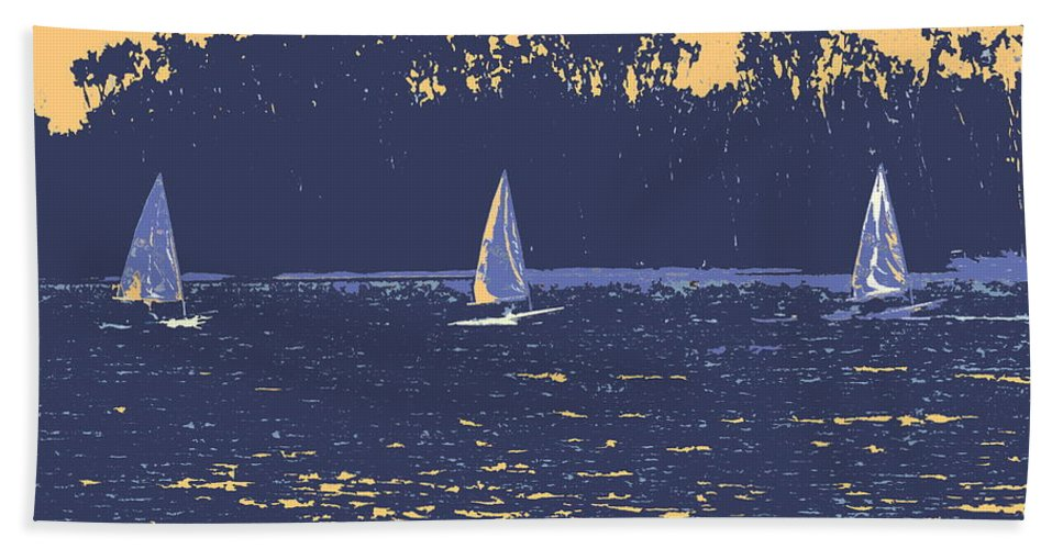 Sail Boat Hand Towel featuring the digital art Sunset Race by Ian MacDonald